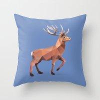 reindeer Throw Pillows featuring Reindeer.  by Diana D'Achille