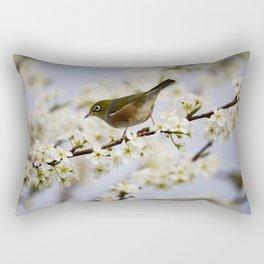 A Bird Perching on a Twig Rectangular Pillow