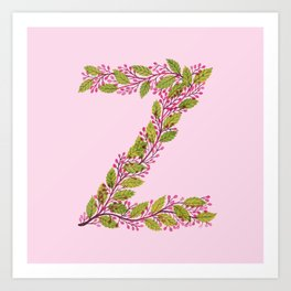 Leafy Letter Z Art Print