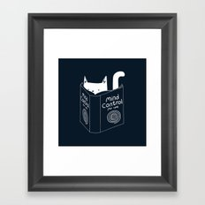Mind Control For Cats (dark blue) Framed Art Print