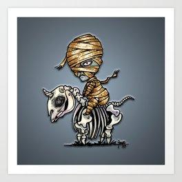 Mythical Creatures Chibi Mummy Unicorn Art Print