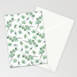 Pastel green watercolor modern orchid floral pattern Stationery Cards