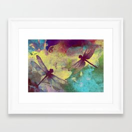 Painting Orchids and Dragonflies Framed Art Print