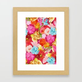 Red And Orange Flowers On Pink Background Framed Art Print