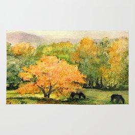 Autumn Landscape Horses Under Maples Rug