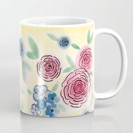 Yellow Floral Print Coffee Mug