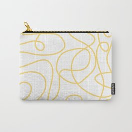 Doodle Line Art   Yellow Lines on White Background Carry-All Pouch