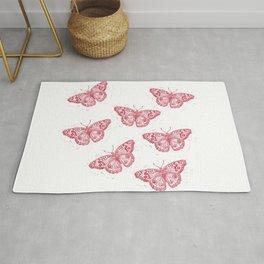 Linocut Junonia Coenia butterflies pattern Rug