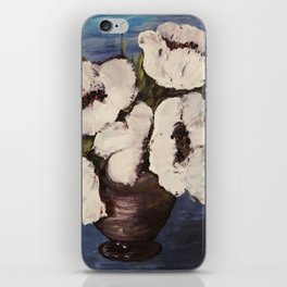 White poppy, floral, still life, minimalist, painting, boho interior iPhone Skin