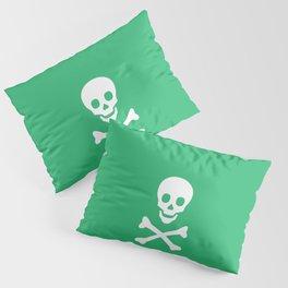 SKULL - GREEN & WHITE Pillow Sham