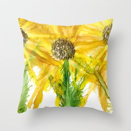 """""""Sunflower #3"""" Floral Painting by Kaytiebug of Katty Candles & Jewelry Throw Pillow"""