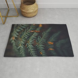 Fern Leaf Orange Accents Rug