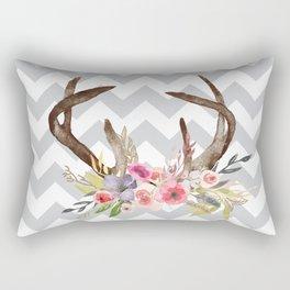 Deer Antlers with flowers Rectangular Pillow