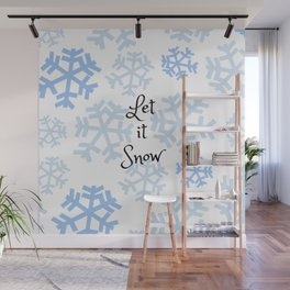 Let it Snow Snowflakes Wall Mural