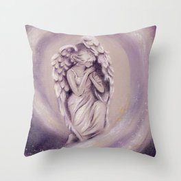Guardian Angel - Angel painting Throw Pillow