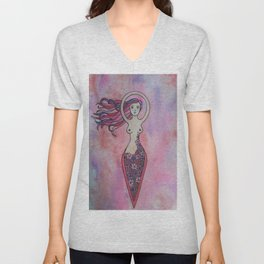 Pink and red floral spiral goddess Unisex V-Neck