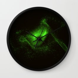 Eye from green glowing particles Wall Clock