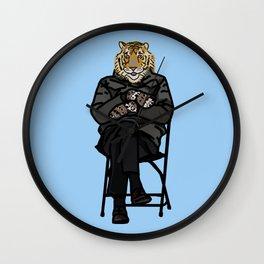 Cool Tiger in Bernie Sanders Mittens Memes Wall Clock