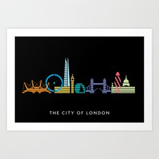 London Skyline Black Art Print