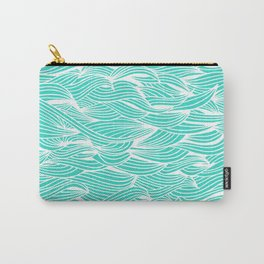 Waves – White on Turquoise Carry-All Pouch