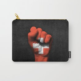 Swiss Flag on a Raised Clenched Fist Carry-All Pouch
