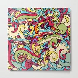 Colorful Hippie Swirl Pattern 2 Metal Print