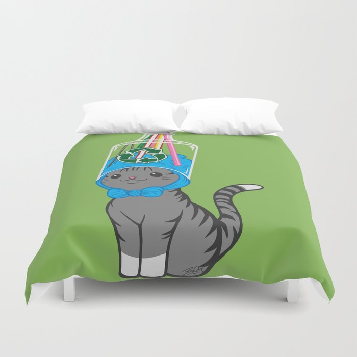 Grey Tabby Wears Recycled Plastic Hat Duvet Cover by spoopysurprise ... 906b17f454d