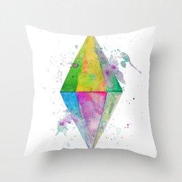 Watercolor Plumbob Throw Pillow