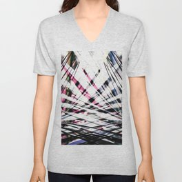 Abstract Tropical Black and Pink Jungle Leaves Unisex V-Neck
