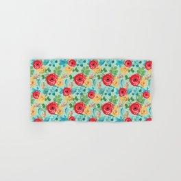 Colorful Flowers on Mint Hand & Bath Towel