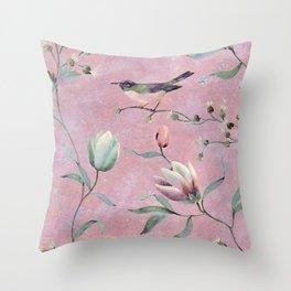 Bird on spring flowers Throw Pillow