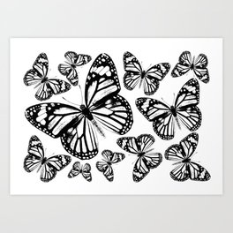 Monarch Butterflies | Monarch Butterfly | Vintage Butterflies | Butterfly Patterns | Black and White Art Print
