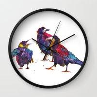 takmaj Wall Clocks featuring Ugly birds by takmaj