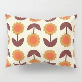 Retro 70s Wallpaper Flowers Pillow Sham