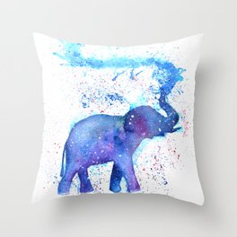 Silhouette Elephant Watercolor Throw Pillow