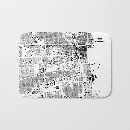 Chicago Map Schwarzplan Only Buildings Bath Mat