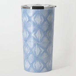 Braided Diamond Sky Blue on Lunar Gray Travel Mug