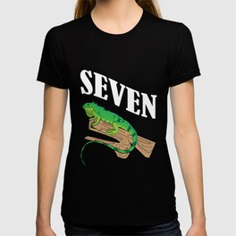 Kids 7 Year Old Lizard Reptile 7th Birthday Party T-shirt