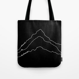 Tallest Mountains in the World / Mt Everest K2 Kanchenjunga / B&W Minimalist Line Drawing Art Print Tote Bag
