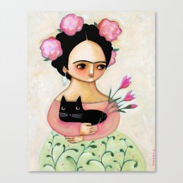Frida with Black Cat and Tulips painting by Tascha Canvas Print