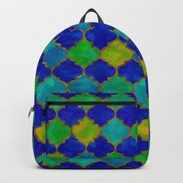 Ocean Breeze -Watercolor Moroccan Lattice Backpack
