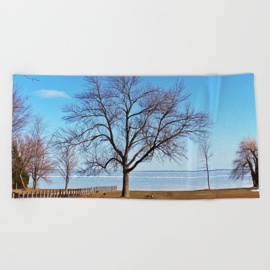 The Tree by the Frozen Lake Beach Towel