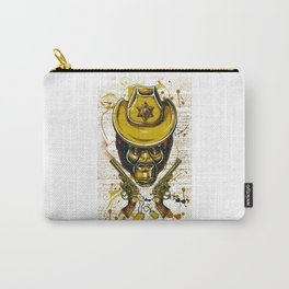 Monkey Cowboy Skull with Twin Guns Carry-All Pouch