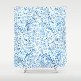 Mermaid Toile - Blue Shower Curtain