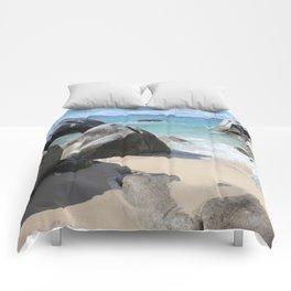 Scenic Beach at The Baths on Virgin Gorda, BVI Comforters