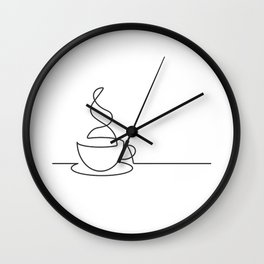 Single Line Coffee Cup Illustration Wall Clock