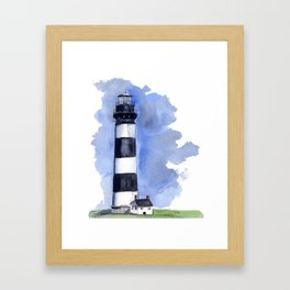 Bodie Island Lighthouse loose watercolor painting Framed Art Print