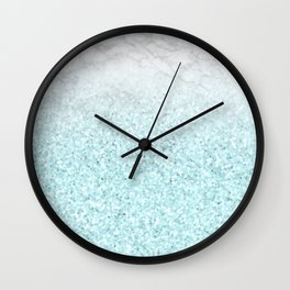 She Sparkles - Turquoise Sea Glitter Marble Wall Clock