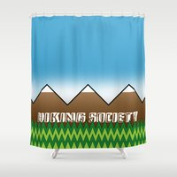 hiking Shower Curtains featuring Hiking Society by klausbalzano