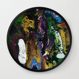 Searching For Gold - Original, abstract, fluid, acrylic painting Wall Clock